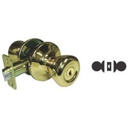 Tubular Knob, Standard, T-Knob, Grade-3, 6-Way Adjustable Backset, Full-Lip Square Corner, Satin Nickel, For Passage