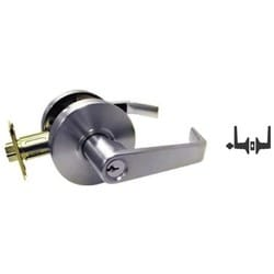 "Cylindrical Leverset, Clutched S-Lever, Grade-2, Square Latch, SFIC Keyway, 180 Degree, 2-3/4"" Backset, ANSI F86 Strike, Satin Chrome, For Storeroom"
