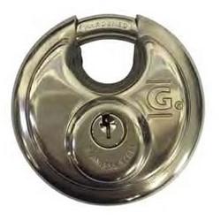 """Padlock, Discus, Keyed Alike, GD002 Key, 2-3/4"""" Diameter, 3/8"""" Shackle Diameter, 5/8"""" Shackle Clearance, Stainless Steel Body, Steel Shackle"""