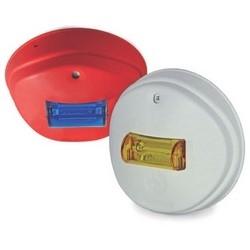 """Fire Protection Horn/Strobe, Indoor, montage plafond, plaine, 81 à 86 dBA Reverberant, 90 dBA chambre anéchoïque, 24 volts DC, 2,6"""" diamètre x 6"""" longueur, lentille bleu, Off White façade"""