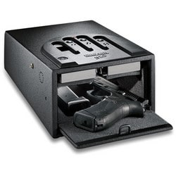 """Gun Safe, Mini Vault Biometric, 15 Unique Fingerprint, 8-1/4"""" Width x 12"""" Depth x 5-1/4"""" Height, 16 Gauge Steel"""