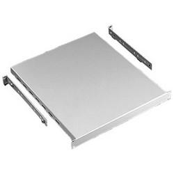 """Rack Mount Adjustable Shelf, Vented, 4-Corner Post, 150 Lb Load, 27.56"""" Length x 17.32"""" Width x 38.58"""" Depth, 14 Gauge Steel, RAL 9005 Black Polyester Powder Painted"""