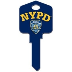 Decorative Key Blank, Kwikset, New York City Police Department NYPD Design, Individually Carded