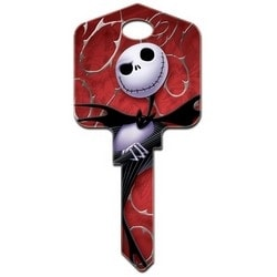 Decorative Key Blank, Schlage, Large Headed, Painted, Disney Jack and Sally Design on Front, Jack Skellington and Sally on Back, With Metallic Ink, Individually Carded