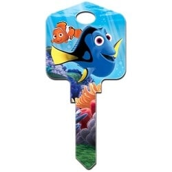 Decorative Key Blank, Kwikset, Large Headed, Painted, Disney Pixar Finding Dory Design on Front, Destiny and Bailey Design on Back, With Metallic Ink, Individually Carded