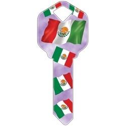 Decorative Key Blank, Kwikset, Mexican Flag Design