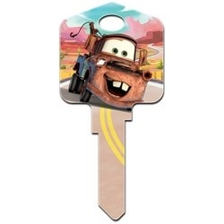 Decorative Key Blank, Schlage, Large Headed, Painted, Disney Cars Mater Design, Individually Carded