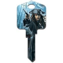 Decorative Key Blank, Schlage, Large Headed, Painted, Disney Pirates of the Caribbean Captain Jack Sparrow Design, Individually Carded