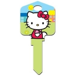 Decorative Key Blank, Kwikset, Large Headed, Painted, Hello Kitty Design, Green, Individually Carded