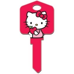 Decorative Key Blank, Schlage, Large Headed, Painted, Hello Kitty Design, Red, Individually Carded