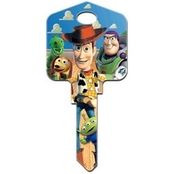 Decorative Key Blank, Schlage, Large Headed, Painted, Disney Buzz and Woody Design, Individually Carded