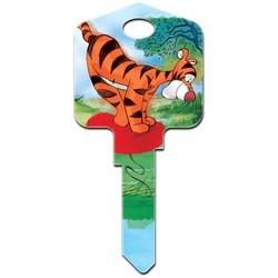 Decorative Key Blank, Kwikset, Large Headed, Painted, Disney Tigger Design on Front, Pooh/Tigger/Eeyore Design on Back, Individually Carded