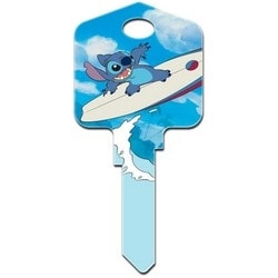 Decorative Key Blank, Schlage, Large Headed, Painted, Disney Stich Surfing Design, Individually Carded