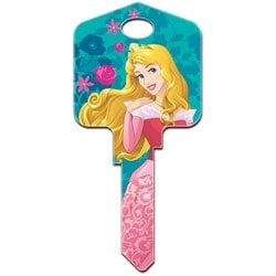 Decorative Key Blank, Schlage, Large Headed, Painted, Disney Princess Aurora Design, Individually Carded