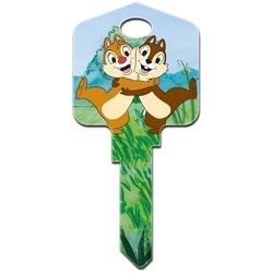 Decorative Key Blank, Schlage, Large Headed, Painted, Disney Chip N Dale Design, Individually Carded