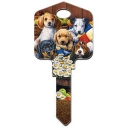Decorative Key Blank, Schlage, Artisan, Large Headed, Painted, Puppies Design, Individually Carded