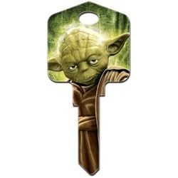 Decorative Key Blank, Kwikset, Large Headed, Painted, Star Wars Yoda Design, Individually Carded