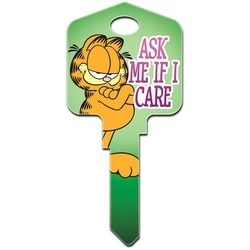 Decorative Key Blank, Kwikset, Large Headed, Painted, Garfield Ask Me if I Care Design, Individually Carded
