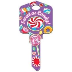 Decorative Key Blank, Kwikset, Pampered Girls Sweet as Candy Design, Individually Carded