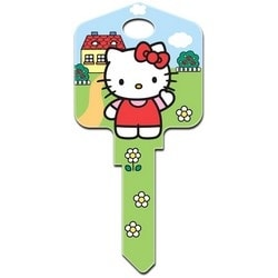 Decorative Key Blank, Schlage, Large Headed, Painted, Hello Kitty House Design, Individually Carded
