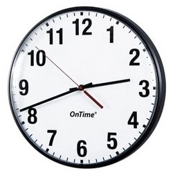 """12""""diameter analog clock for surface mounting, with theft and earthquake resistant mounting slot"""