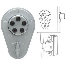"Mechanical Pushbutton Lock, 1"" Deadbolt Latch, 1-3/8 to 1-1/2"" Thickness, Satin Chrome"
