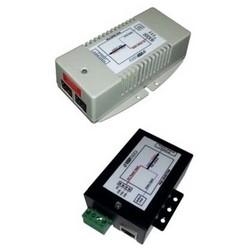 "Power Over Ethernet Injector/Converter, DC to DC, 10/100 Mbps, 9 to 36 Volt DC Input, 48 Volt DC Output, 24 Watt, 3.4"" Length x 3"" Width x 1.4"" Height, Metal Case"