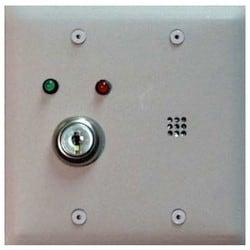 Local Door Alarm, 12 to 24 Volt AC/DC, 250 Milliampere, 2-Gang Plate, 95 dB Sounder, 0 to 60 Second Time Delay, With Key Switch