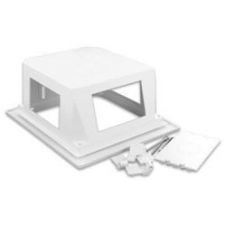 """Recessed Entertainment Box, 8"""" Width x 7.2"""" Height, Molded ABS Plastic, White, With Low Profile Frame"""