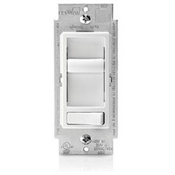 Lighting Dimmer, Electro-Mechanical, Slide-Action, 1-Pole, 3-Way, Radio/TV Filter Protection, 120 Volt AC, 60 Hertz, 600 Watt (Incandescent), 150 Watt (LED/CFL), White