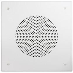 "Speaker Grille, Square, Beveled Edge, Round Perforation Pattern, Screw Mount, 11.438"" Width x 11.438"" Height, 20 Gauge Steel, White, For 8"" Speaker"