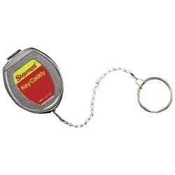 """Key Caddy and Belt Clip, Retractable, Die-Cast Zinc, With 21"""" Stainless Steel Chain and Large Key Ring"""