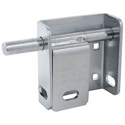 "Door Garage Blok, Left Hand Mount, Steel, Zinc Chrome Plated, With 5/8"" Locking Bolt, Protective Padlock Shield, 5/16"" Carriage Bolt"