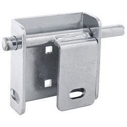 """Door Garage Blok, Right Hand Mount, Steel, Zinc Chrome Plated, With 5/8"""" Locking Bolt, Protective Padlock Shield, 5/16"""" Carriage Bolt"""