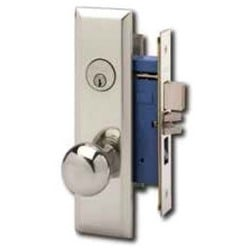 Mortise Door Lockset, Left Hand, Keyed Single Cylinder, Round/Wrought Knob, New Yorker Plate, ANSI F08/F10, Satin Chrome, With Deadbolt, Without Cylinder, For Entrance