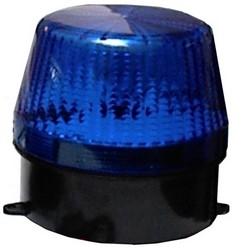"Strobe Light, 6 to 14 Volt DC, 140 Milliampere at 12 Volt DC, 80 per Minute Flash Rate, 3.9"" Diameter x 3.5"" Height, Acrylic Lens, Black ABS Plastic Base, Blue Strobe"