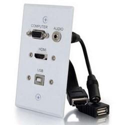 Wallplate, 1-Gang Audio/Video, Pass-Through, 3.5 MM Stereo/HDMI Female to HDMI Female, Aluminum, White