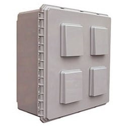 """Fan Ventilated Enclosure, Outdoor, NEMA 3R, 24"""" Width x 10"""" Depth x 24"""" Height, Polycarbonate, Gray, With 115 Volt 81 CFM Fan, Thermostat"""