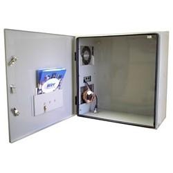 "Temperature Controlled Enclosure, Outdoor, NEMA 4, 24"" Width x 12"" Depth x 36"" Height, Metal, ASA 70 Gray, With 2000 BTU AC Unit"