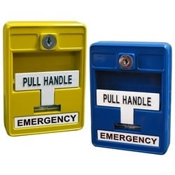 """Emergency Pull Station, Single Action, Manual, Form C Contact, 1-Gang Box Mount, 3.5"""" Width x 2"""" Depth x 4.9"""" Height, Die-Cast Metal, Blue, With Door Release"""