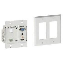 """VGA/Audio Wallplate Transmitter, 2-Gang, HDMI 1.3a, 10.2 GBPS Video, 110 to 240 Volt/12 Volt DC, 10.3 Watt, 4.11"""" Length x 1.73"""" Width x 3.5"""" Height, Metal Enclosure"""