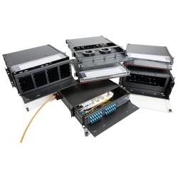 Fiber Optic Enclosure, Sliding, 1RU, 16 Gauge Steel, Black, With (3) Adapter Plate