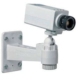 """Security Camera Mount, Security Hardware, Light Duty, Low Profile, 7"""" Width, Powder Coated, Light Gray"""