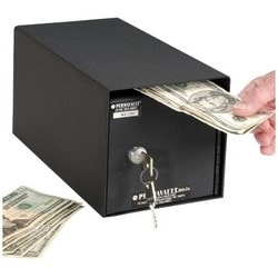 """Cash Drop Box, Horizontal Mount, Front Load, Depository Safe, 6"""" Width x 11-1/2"""" Depth x 6"""" Height, Heavy Gauge Steel, Durable Powder Coated, With (2) Key Security Lock"""