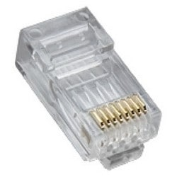 Modular Plug, Standard, High Performance, Round, Solid, Hi-Low Stagger, 1-Piece, 3-Prong Conductor Contact, RJ45, Cat 5E, 25 each per Pack