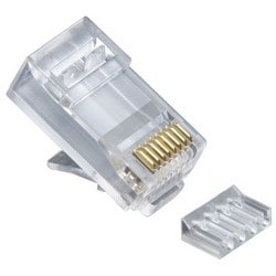 Modular Plug, Standard, High Performance, Round, Solid, Non-Shielded, 2-Piece, 3-Prong Conductor Contact, RJ45, Cat 6, With Liner, 100 each per Jar