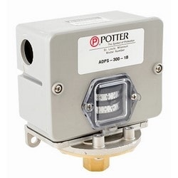 Deadband Pressure Switch, Adjustable, 15 Ampere at 125 Volt AC, 8 Ampere at 250 Volt AC, 25 to 300 PSIG, Forged Brass, Aluminum Die-Cast Base, Polymer Enclosure