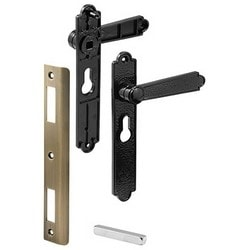 "Door Mortise Lock Handle, Lever, 6-9/16"" Hole Center to Center, Black, With Inside/Outside Assembly, Spindle, Assembly Screw, Fastener"