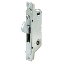 "Sliding Door Mortise Lock, Angled, 45 Degree Keyway, Round Faceplate, Slanted Housing, 3-11/16"" Hole Center to Center, Steel, With Installation Fastener"