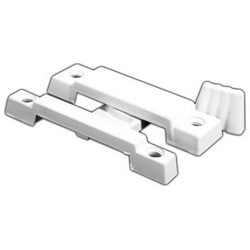"Window Lock, Sash, 2-1/4"" Hole Center to Center, Die-Cast Zinc, White Painted, With Keeper, Installation, For Single and Double Hung Window"